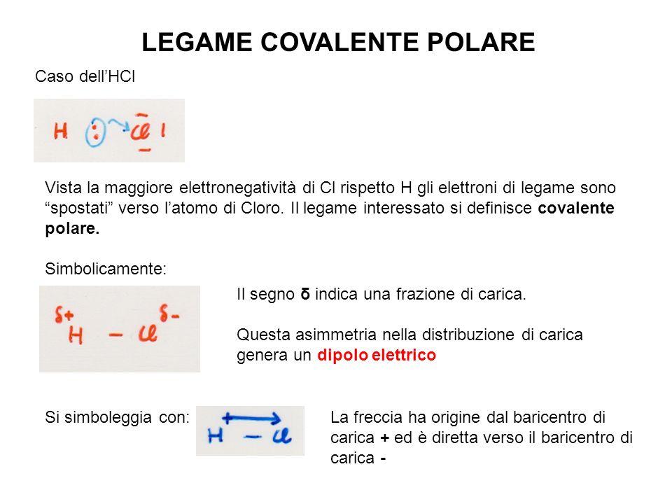 LEGAME COVALENTE POLARE Caso dellHCl Vista la maggiore elettronegatività di Cl rispetto H gli elettroni di legame sono spostati verso latomo di Cloro.