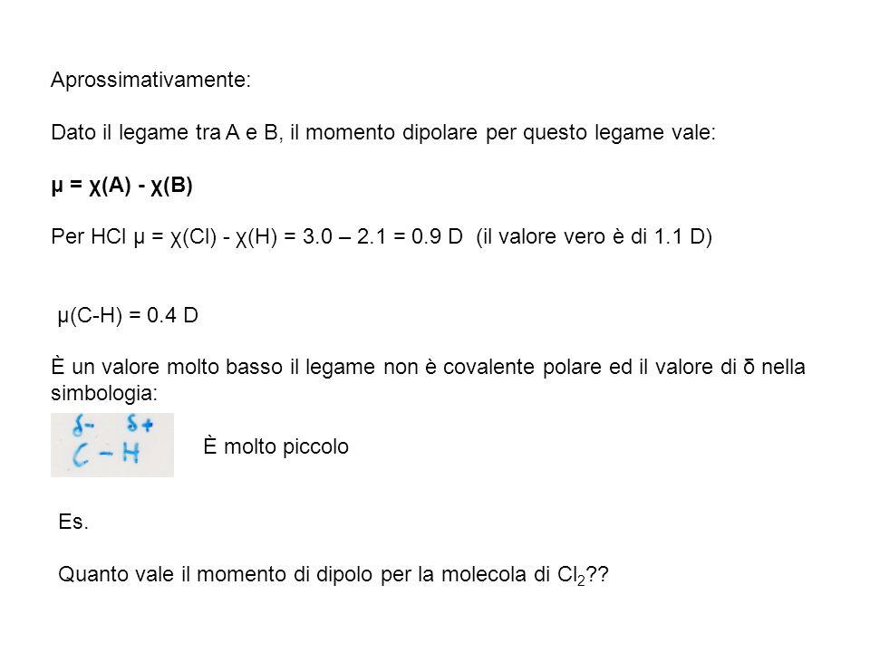 Aprossimativamente: Dato il legame tra A e B, il momento dipolare per questo legame vale: μ = χ(A) - χ(B) Per HCl μ = χ(Cl) - χ(H) = 3.0 – 2.1 = 0.9 D