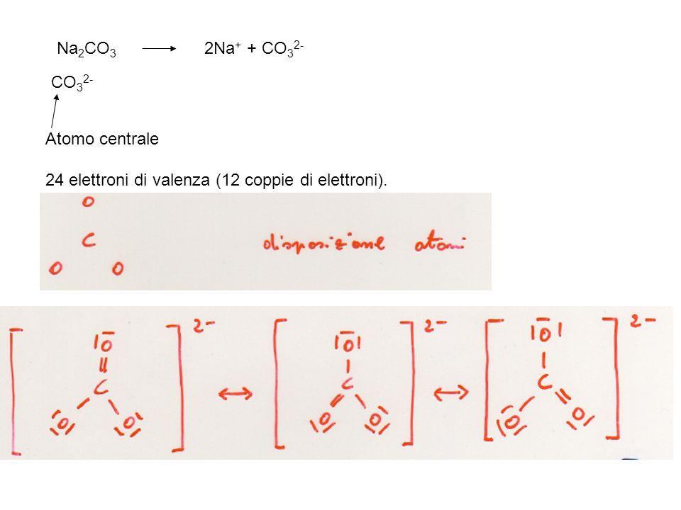 Na 2 CO 3 2Na + + CO 3 2- CO 3 2- Atomo centrale 24 elettroni di valenza (12 coppie di elettroni).
