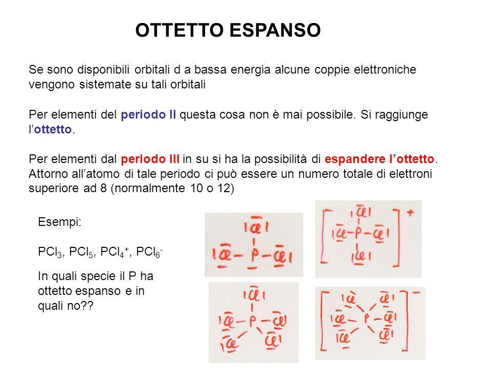 OTTETTO ESPANSO Se sono disponibili orbitali d a bassa energia alcune coppie elettroniche vengono sistemate su tali orbitali Per elementi del periodo