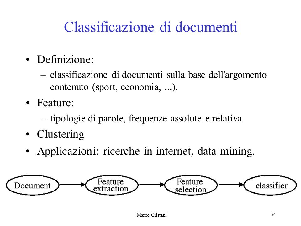 Marco Cristani 56 Classificazione di documenti Definizione: –classificazione di documenti sulla base dell argomento contenuto (sport, economia,...).