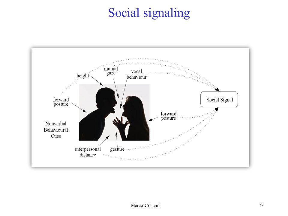 Marco Cristani 59 Social signaling