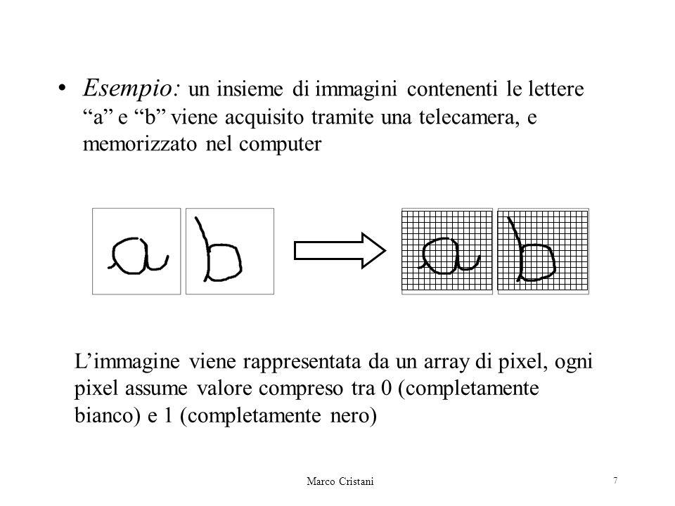 Marco Cristani 7 Esempio: un insieme di immagini contenenti le lettere a e b viene acquisito tramite una telecamera, e memorizzato nel computer Limmagine viene rappresentata da un array di pixel, ogni pixel assume valore compreso tra 0 (completamente bianco) e 1 (completamente nero)