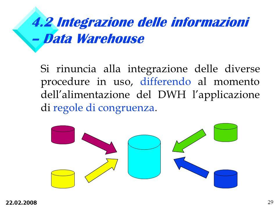 22.02.2008 29 4.2 Integrazione delle informazioni – Data Warehouse Si rinuncia alla integrazione delle diverse procedure in uso, differendo al momento dellalimentazione del DWH lapplicazione di regole di congruenza.