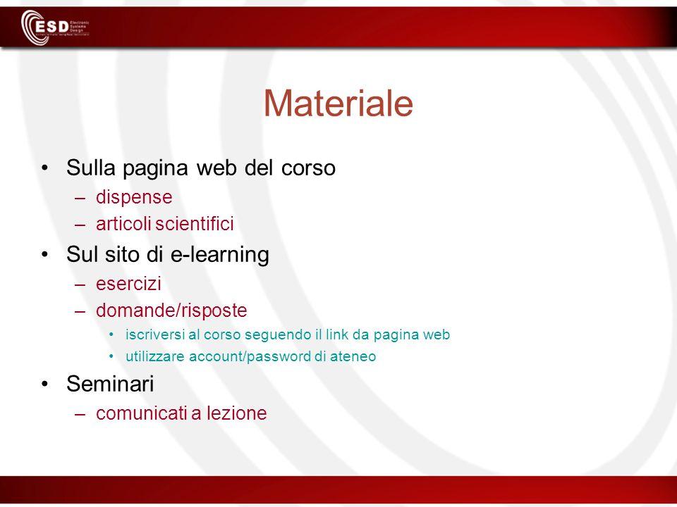 Materiale Sulla pagina web del corso –dispense –articoli scientifici Sul sito di e-learning –esercizi –domande/risposte iscriversi al corso seguendo i