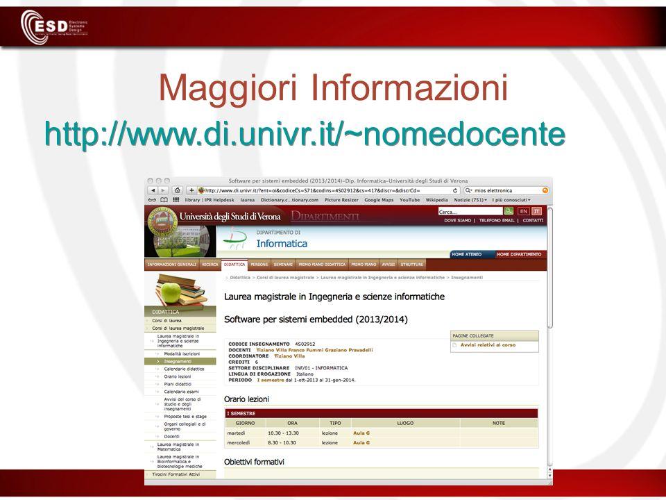 Maggiori Informazioni http://www.di.univr.it/~nomedocente