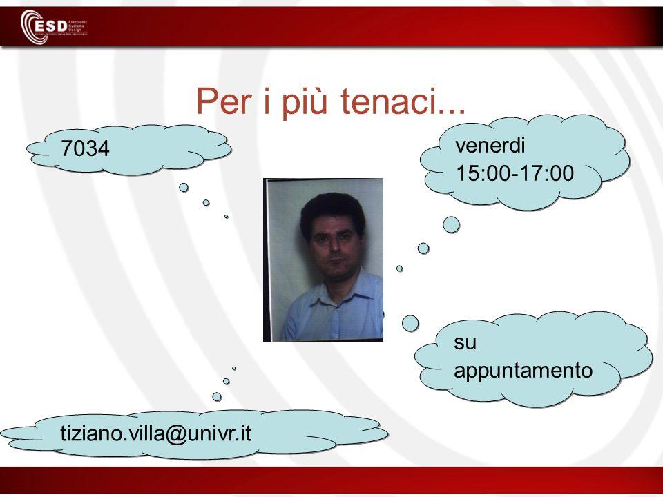 Per i più tenaci... 7034 tiziano.villa@univr.it venerdi 15:00-17:00 su appuntamento