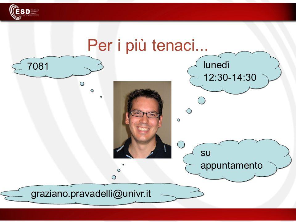 Per i più tenaci... 7081 graziano.pravadelli@univr.it lunedì 12:30-14:30 su appuntamento