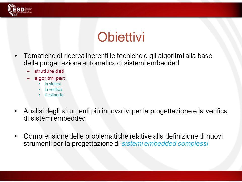 Obiettivi Tematiche di ricerca inerenti le tecniche e gli algoritmi alla base della progettazione automatica di sistemi embedded –strutture dati –algo