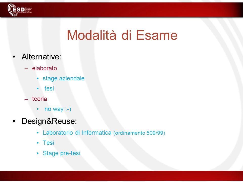 Modalità di Esame Alternative: –elaborato stage aziendale tesi –teoria no way :-) Design&Reuse: Laboratorio di Informatica (ordinamento 509/99) Tesi S