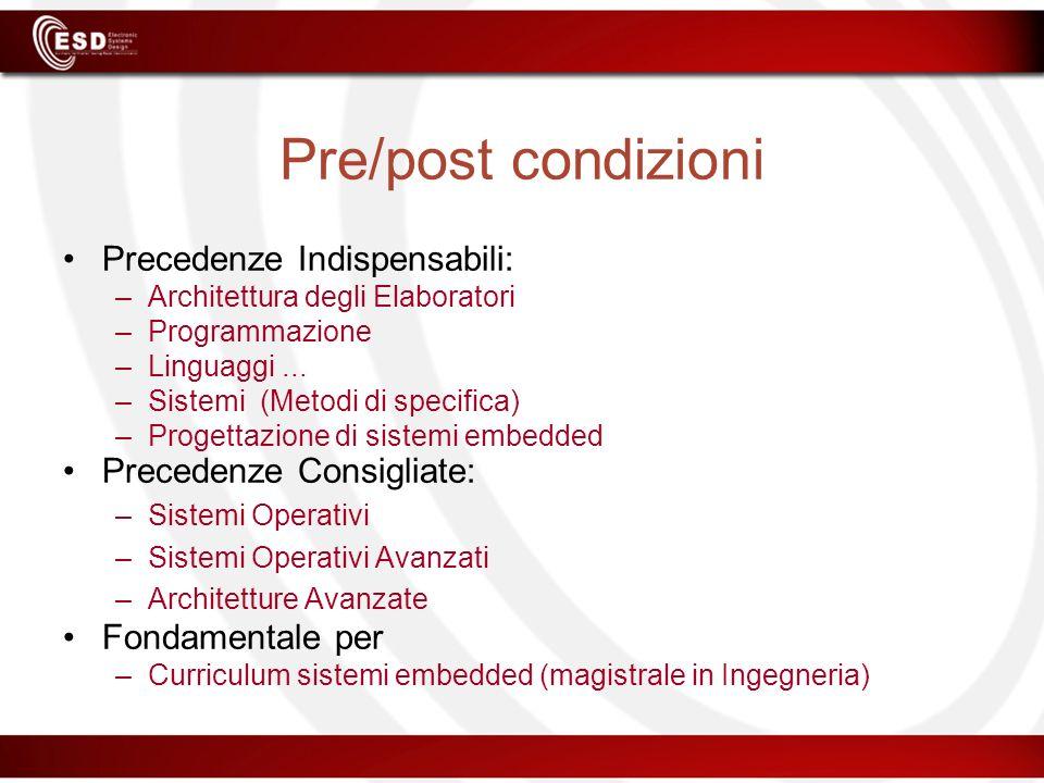 Pre/post condizioni Precedenze Indispensabili: –Architettura degli Elaboratori –Programmazione –Linguaggi... –Sistemi (Metodi di specifica) –Progettaz