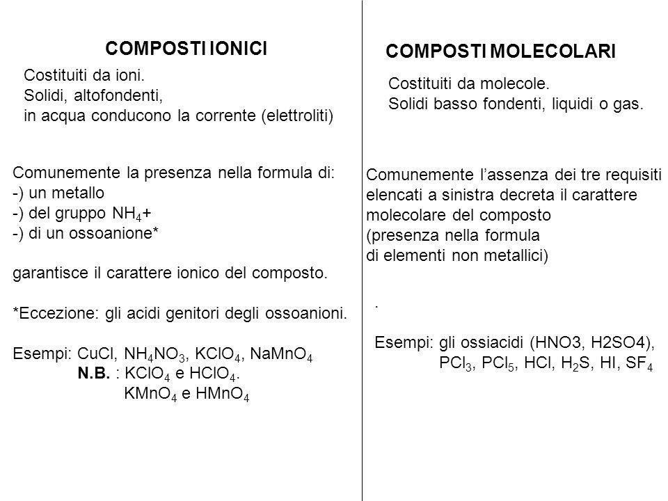 COMPOSTI IONICI COMPOSTI MOLECOLARI Costituiti da ioni. Solidi, altofondenti, in acqua conducono la corrente (elettroliti) Comunemente la presenza nel