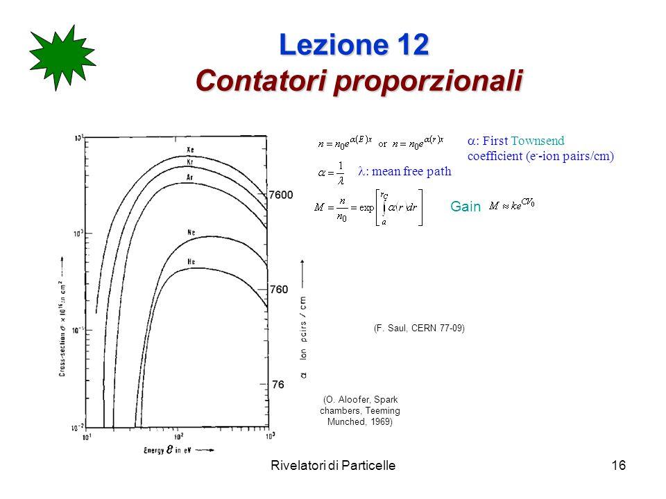 Rivelatori di Particelle16 Lezione 12 Contatori proporzionali (F.