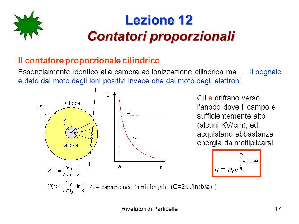 Rivelatori di Particelle17 Lezione 12 Contatori proporzionali Il contatore proporzionale cilindrico.