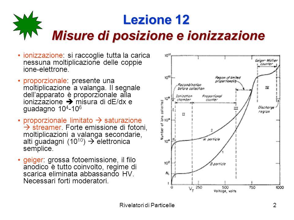 Rivelatori di Particelle2 Lezione 12 Misure di posizione e ionizzazione ionizzazione: si raccoglie tutta la carica nessuna moltiplicazione delle coppie ione-elettrone.