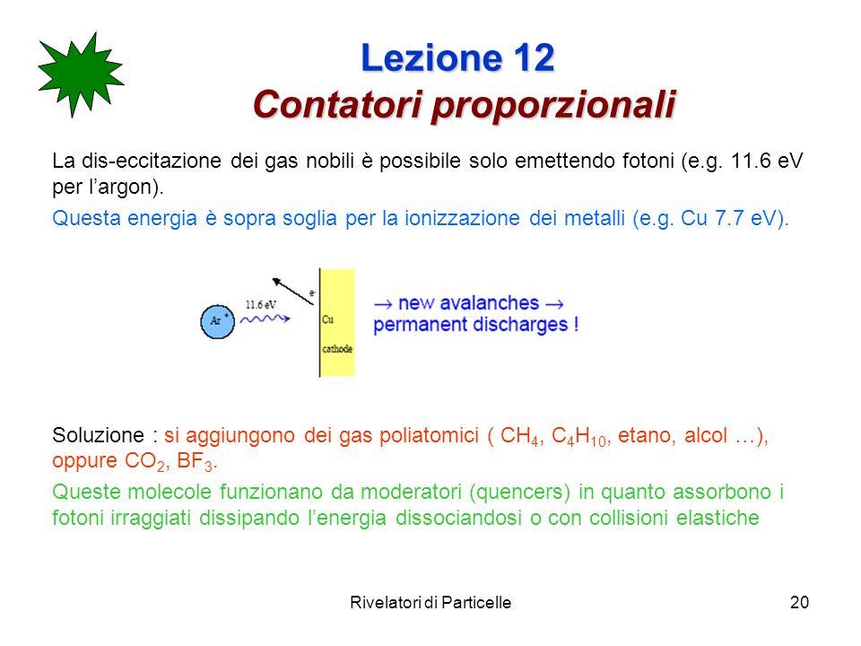 Rivelatori di Particelle20 Lezione 12 Contatori proporzionali La dis-eccitazione dei gas nobili è possibile solo emettendo fotoni (e.g.