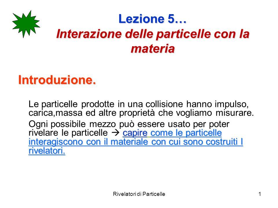Rivelatori di Particelle1 Lezione 5… Interazione delle particelle con la materia Introduzione. Le particelle prodotte in una collisione hanno impulso,