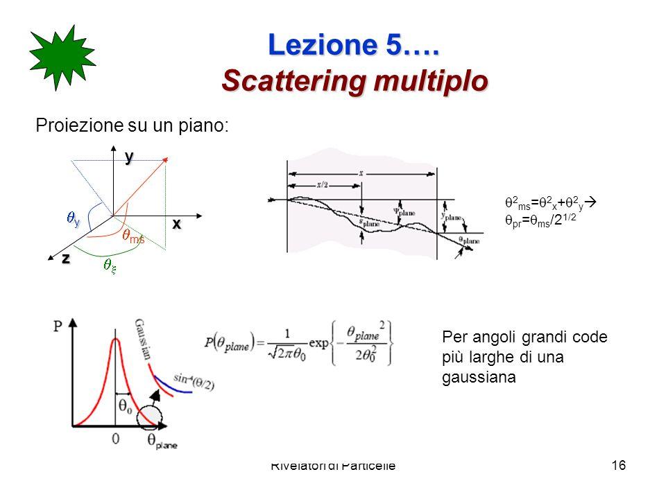Rivelatori di Particelle16 Lezione 5…. Scattering multiplo Proiezione su un piano:yx z y ms 2 ms = 2 x + 2 y pr = ms /2 1/2 Per angoli grandi code più