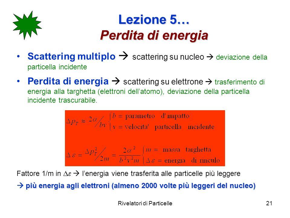 Rivelatori di Particelle21 Lezione 5… Perdita di energia Scattering multiplo scattering su nucleo deviazione della particella incidente Perdita di ene