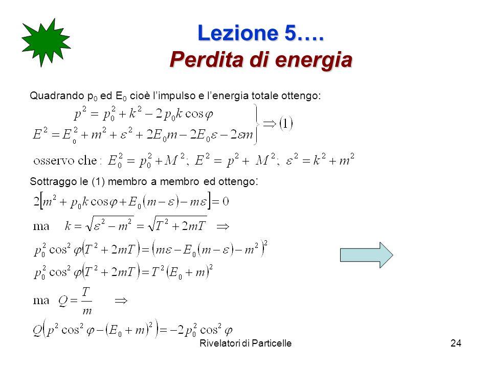Rivelatori di Particelle24 Lezione 5…. Perdita di energia Quadrando p 0 ed E 0 cioè limpulso e lenergia totale ottengo: Sottraggo le (1) membro a memb