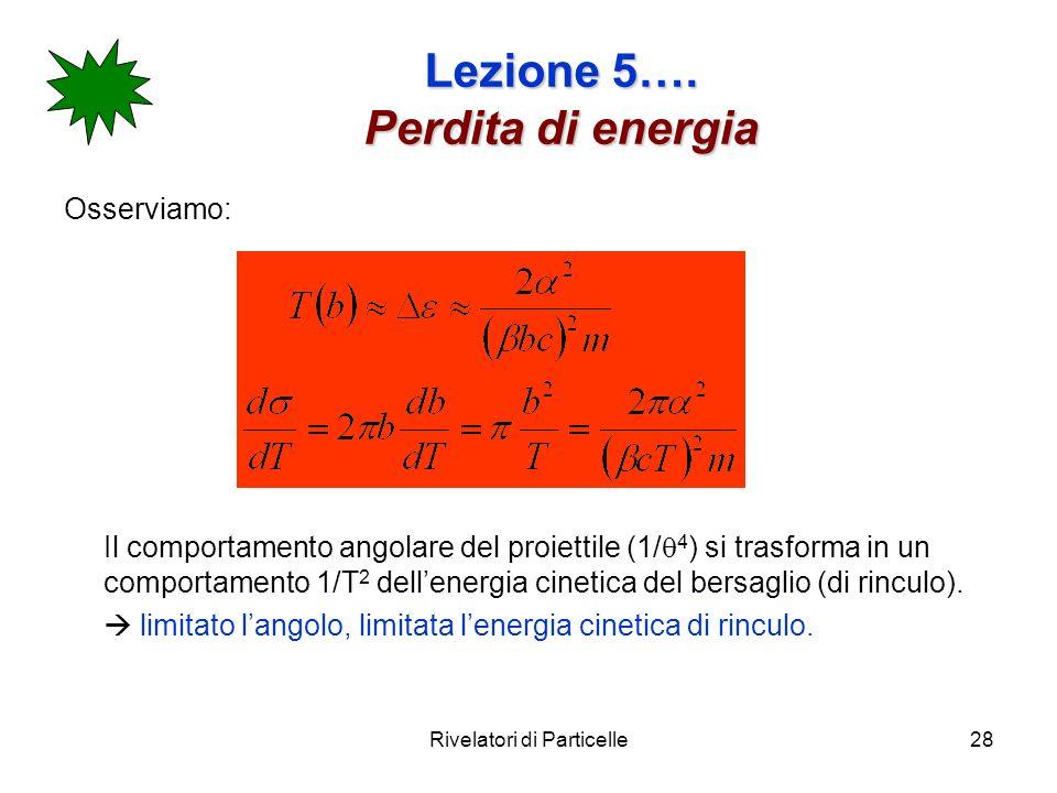 Rivelatori di Particelle28 Lezione 5…. Perdita di energia Osserviamo: Il comportamento angolare del proiettile (1/ 4 ) si trasforma in un comportament