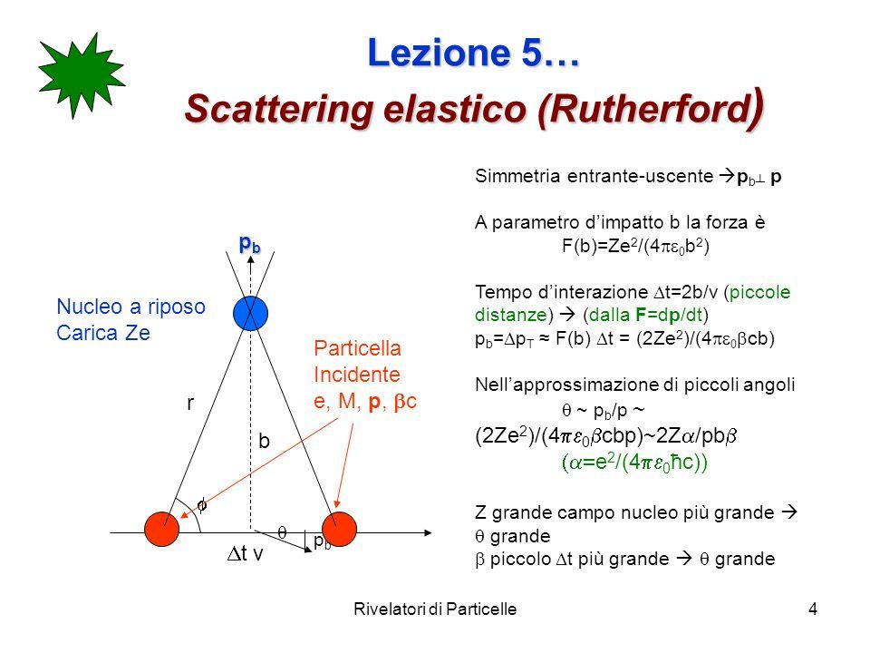 Rivelatori di Particelle4 Lezione 5… Scattering elastico (Rutherford ) Simmetria entrante-uscente p b p A parametro dimpatto b la forza è F(b)=Ze 2 /(