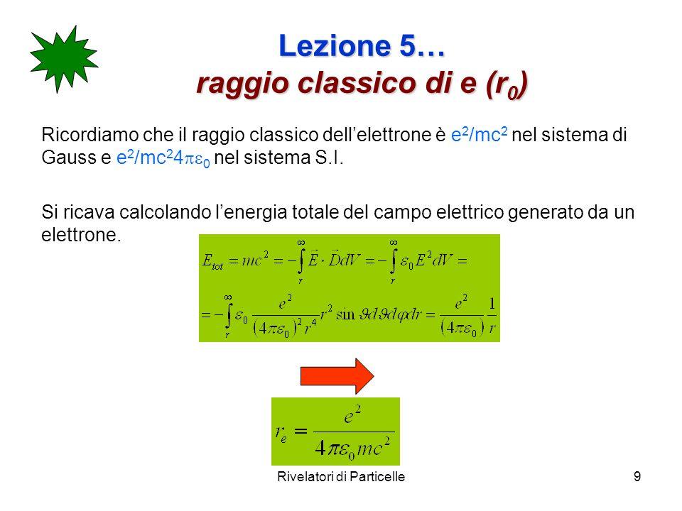 Rivelatori di Particelle9 Lezione 5… raggio classico di e (r 0 ) Ricordiamo che il raggio classico dellelettrone è e 2 /mc 2 nel sistema di Gauss e e