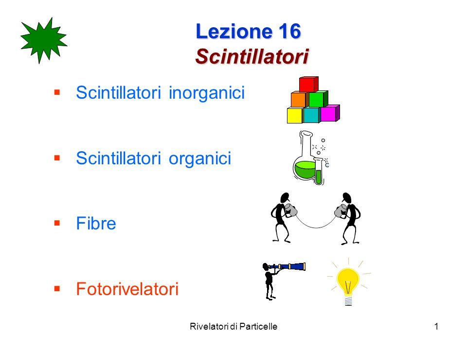 Rivelatori di Particelle1 Lezione 16 Scintillatori Scintillatori inorganici Scintillatori organici Fibre Fotorivelatori