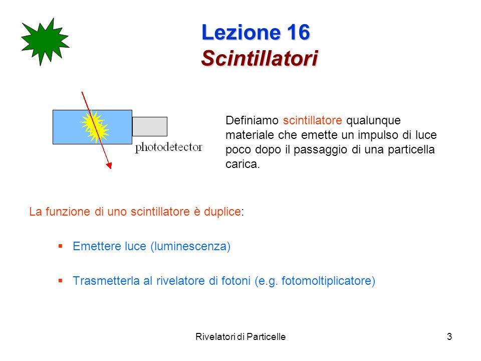 Rivelatori di Particelle4 Lezione 16 Scintillatori Proprietà generali di uno scintillatore Uno scintillatore consiste generalmente in un materiale scintillante accoppiato otticamente ad un fotomoltiplicatore (PM) o direttamente o tramite una guida di luce.