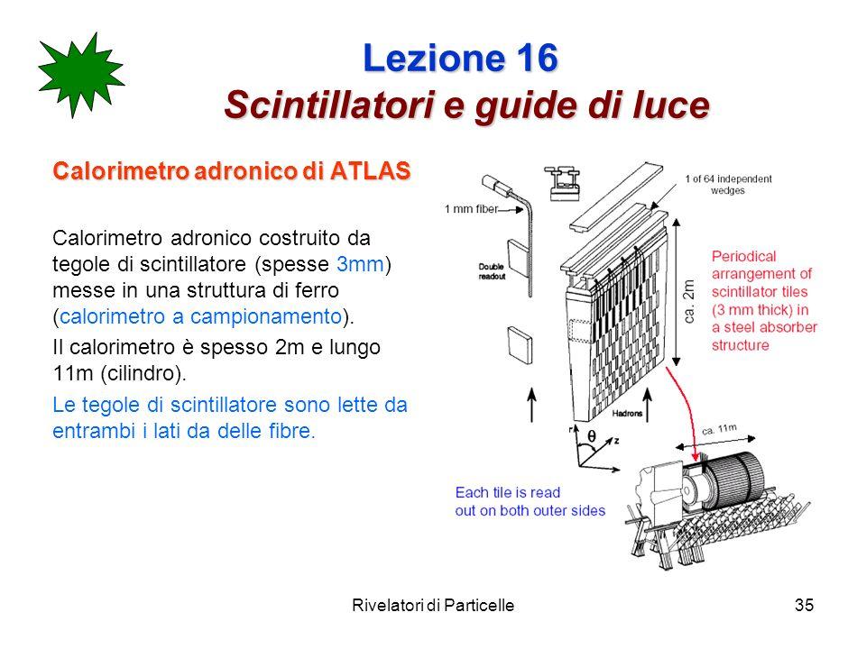 Rivelatori di Particelle35 Lezione 16 Scintillatori e guide di luce Calorimetro adronico di ATLAS Calorimetro adronico costruito da tegole di scintill