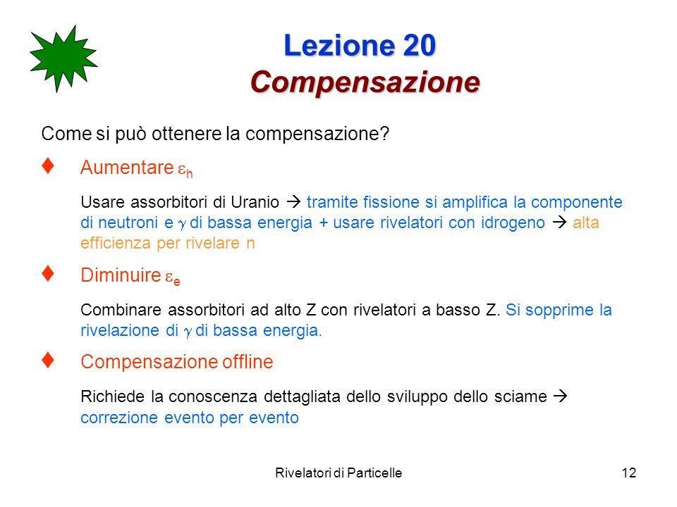 Rivelatori di Particelle12 Lezione 20 Compensazione Come si può ottenere la compensazione? Aumentare h Usare assorbitori di Uranio tramite fissione si