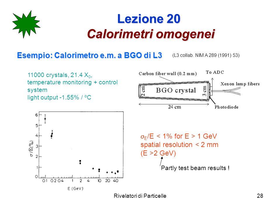 Rivelatori di Particelle28 Lezione 20 Calorimetri omogenei Esempio: Calorimetro e.m. a BGO di L3 11000 crystals, 21.4 X 0, temperature monitoring + co