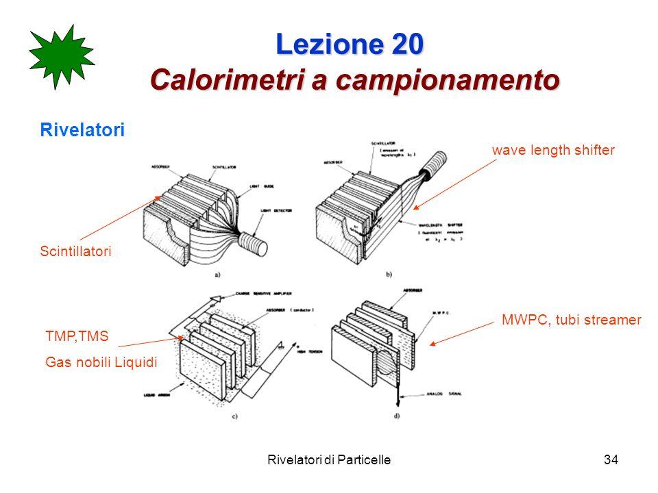 Rivelatori di Particelle34 Lezione 20 Calorimetri a campionamento Rivelatori Scintillatori wave length shifter MWPC, tubi streamer TMP,TMS Gas nobili