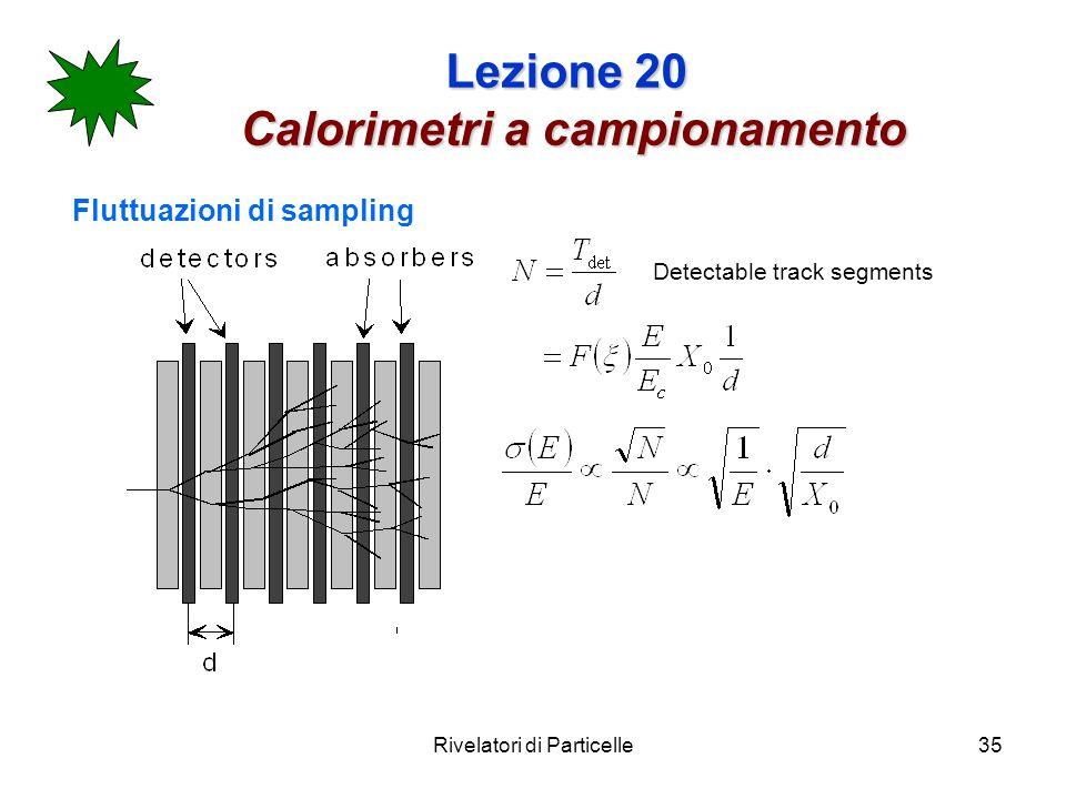 Rivelatori di Particelle35 Lezione 20 Calorimetri a campionamento Fluttuazioni di sampling Detectable track segments