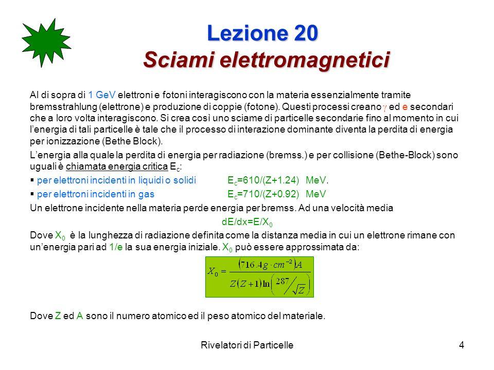 Rivelatori di Particelle15 Lezione 20 Perdite Perdite Siccome un calorimetro non è infinito avremo anche delle perdite di energia.