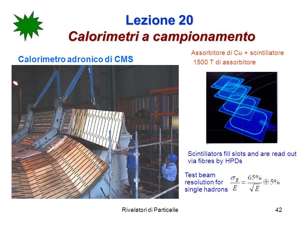 Rivelatori di Particelle42 Lezione 20 Calorimetri a campionamento Calorimetro adronico di CMS Scintillators fill slots and are read out via fibres by
