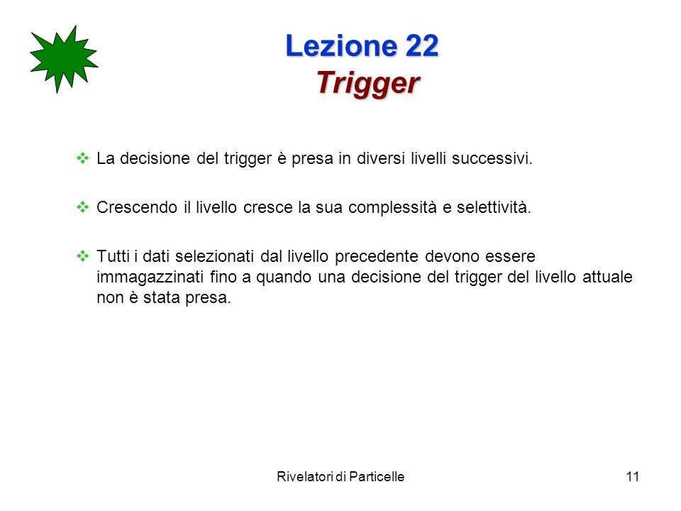 Rivelatori di Particelle11 Lezione 22 Trigger La decisione del trigger è presa in diversi livelli successivi.