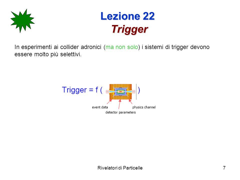 Rivelatori di Particelle7 Lezione 22 Trigger In esperimenti ai collider adronici (ma non solo) i sistemi di trigger devono essere molto più selettivi.