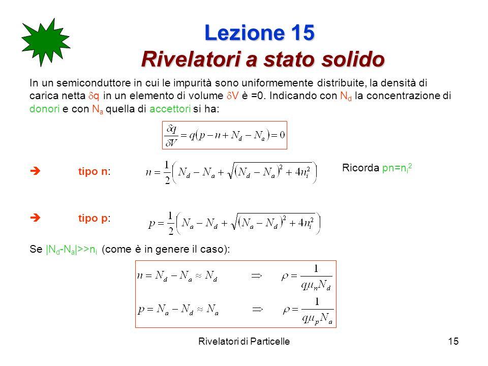 Rivelatori di Particelle15 Lezione 15 Rivelatori a stato solido In un semiconduttore in cui le impurità sono uniformemente distribuite, la densità di