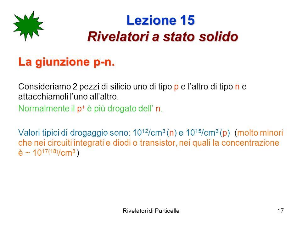 Rivelatori di Particelle17 Lezione 15 Rivelatori a stato solido La giunzione p-n. Consideriamo 2 pezzi di silicio uno di tipo p e laltro di tipo n e a