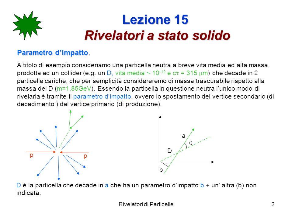 Rivelatori di Particelle2 Lezione 15 Rivelatori a stato solido Parametro dimpatto Parametro dimpatto. A titolo di esempio consideriamo una particella