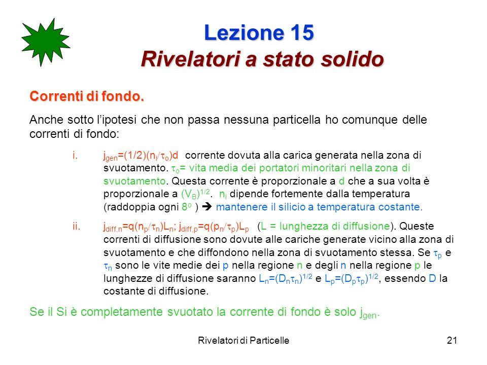Rivelatori di Particelle21 Lezione 15 Rivelatori a stato solido Correnti di fondo. Anche sotto lipotesi che non passa nessuna particella ho comunque d