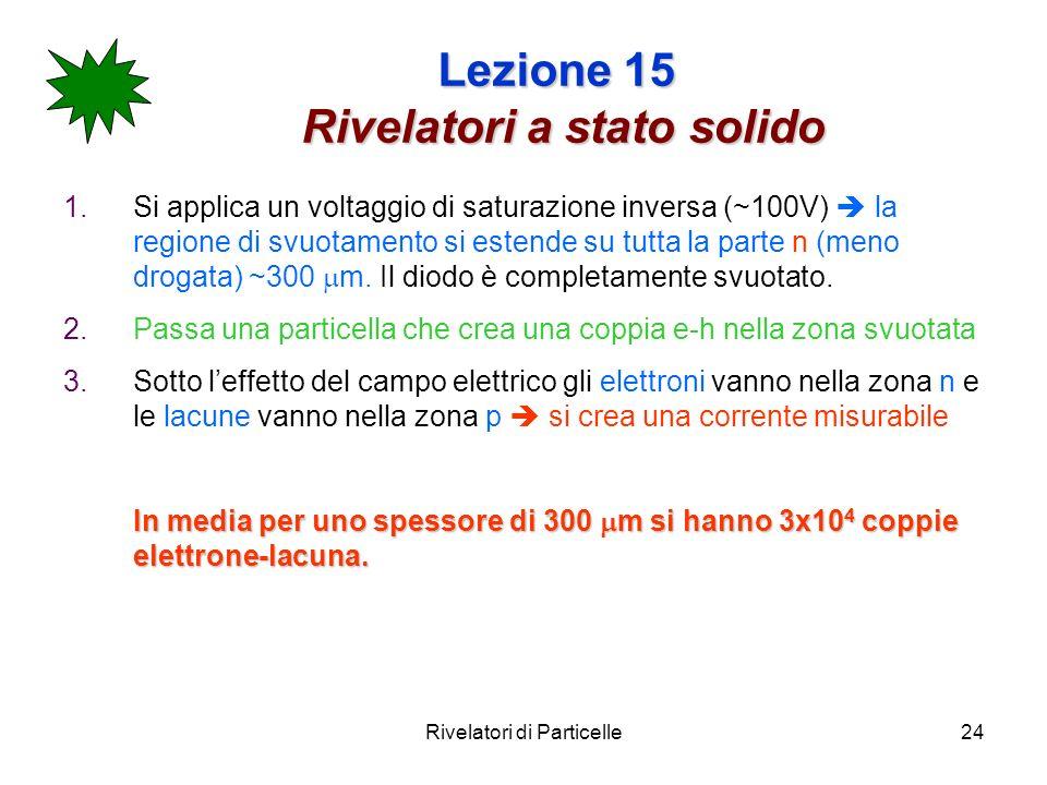 Rivelatori di Particelle24 Lezione 15 Rivelatori a stato solido 1.Si applica un voltaggio di saturazione inversa (~100V) la regione di svuotamento si