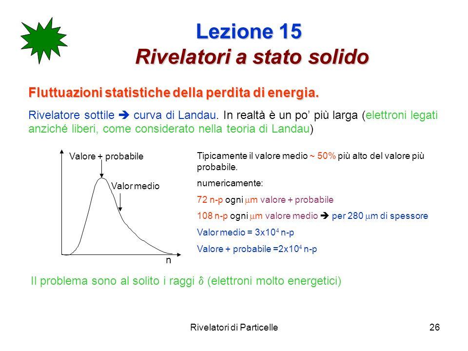 Rivelatori di Particelle26 Lezione 15 Rivelatori a stato solido Fluttuazioni statistiche della perdita di energia. Rivelatore sottile curva di Landau.