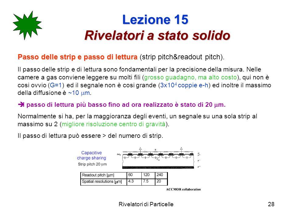 Rivelatori di Particelle28 Lezione 15 Rivelatori a stato solido Passo delle strip e passo di lettura Passo delle strip e passo di lettura (strip pitch