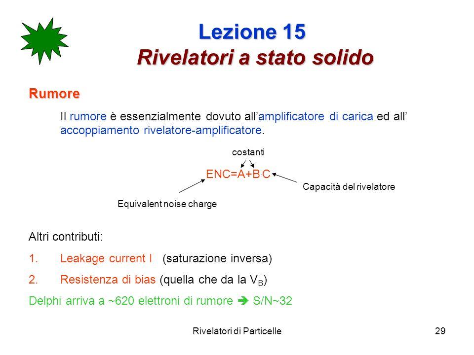Rivelatori di Particelle29 Lezione 15 Rivelatori a stato solido Rumore Il rumore è essenzialmente dovuto allamplificatore di carica ed all accoppiamen