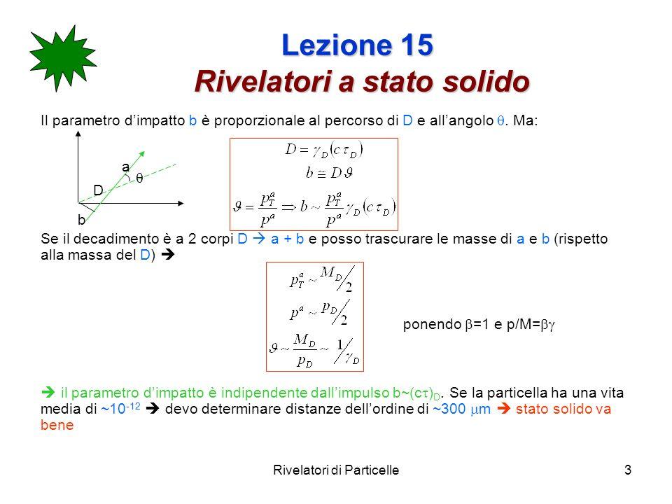 Rivelatori di Particelle3 Lezione 15 Rivelatori a stato solido Il parametro dimpatto b è proporzionale al percorso di D e allangolo. Ma: Se il decadim