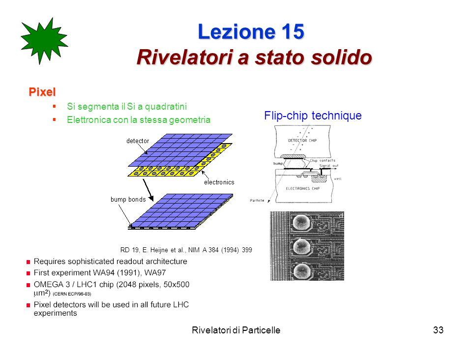 Rivelatori di Particelle33 Lezione 15 Rivelatori a stato solido Pixel Si segmenta il Si a quadratini Elettronica con la stessa geometria RD 19, E. Hei
