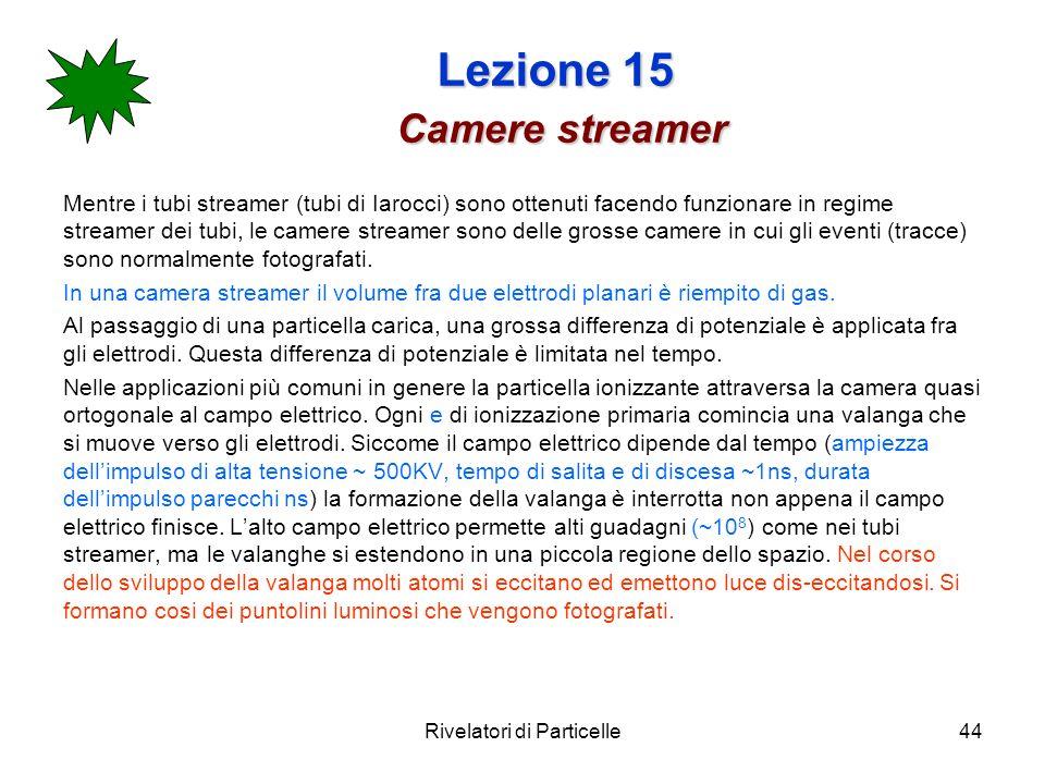 Rivelatori di Particelle44 Lezione 15 Camere streamer Mentre i tubi streamer (tubi di Iarocci) sono ottenuti facendo funzionare in regime streamer dei