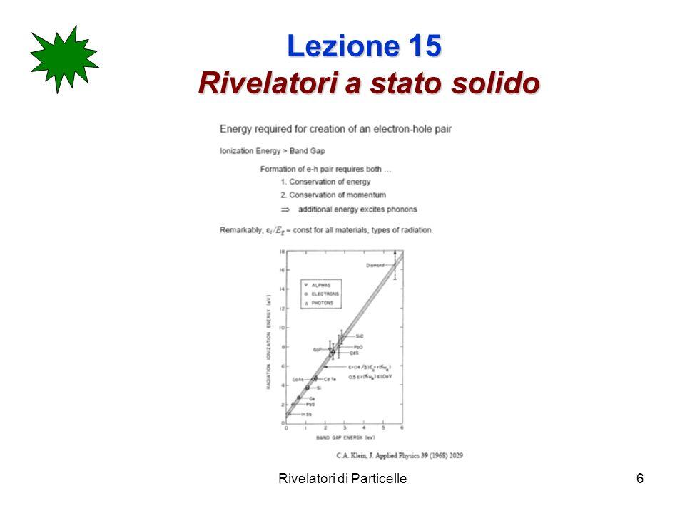 Rivelatori di Particelle6 Lezione 15 Rivelatori a stato solido